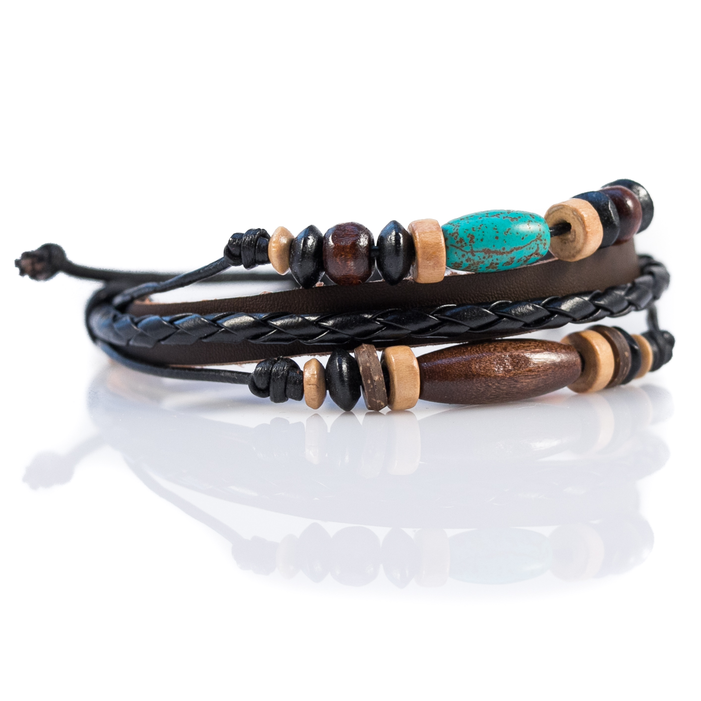Turquoise Beaded Leather Bracelet